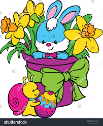 coloring happy easter cute easter bunny stock vector 372365065