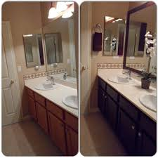 main bathroom remodel framed mirror with mdf trim then spray