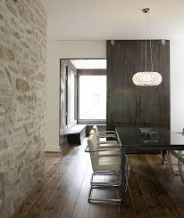 modern home with natural stone dining room wall http www