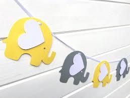 Gray Elephant Nursery Decor by Elephant Garland Bright Yellow U0026 Gray Baby Shower Decor