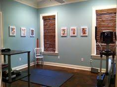 workout room huge mirror to reflect light turquoise walls love