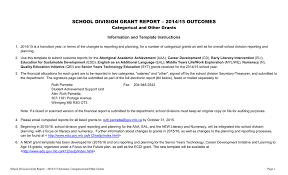 grant report template categorical and other grants outcome report
