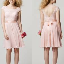 blush junior bridesmaid dresses cap sleeve lace top knee length blush pink cheap junior bridesmaid