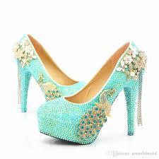 wedding shoes glasgow wholesale turquoise flower tassel cinderella shoes prom evening
