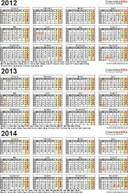 three year calendars for 2012 2013 u0026 2014 uk for excel