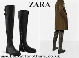 zara womens boots sale clearance sale zara black leather the knee flat boots zip