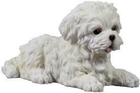 4 5 inch maltese puppy lying decorative statue