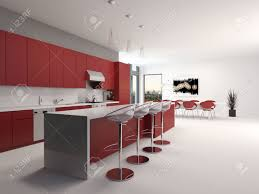 Red Kitchen Cabinets Modern Open Plan Red Kitchen Interior With A Long Counter With