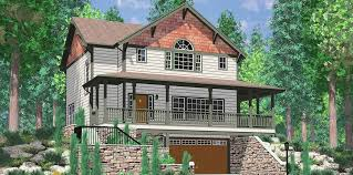 Craftsman House Designs Daylight Basement Craftsman Featuring Wrap Around Porch