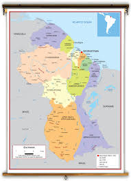 guyana on world map guyana political educational wall map from academia maps