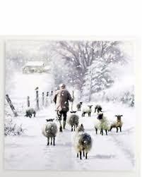 snowy winter sheep u0026 shepard scene christmas card 10 cards for