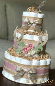 Shabby Chic Baby Shower Cakes by Shabby Chic Diaper Cake In Burlap Mint And Peach Shabby Chic
