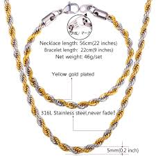 steel necklace wholesale images U7 two tone gold color rope chain necklace set jewelry wholesale jpg