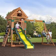 Backyard Swing Sets Canada Compass Wooden Swing Set