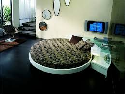 simple bebdroom with white leather round bed unique circle wall