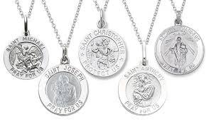 medallion necklace silver images Saint medallion pendant necklace groupon goods jpg
