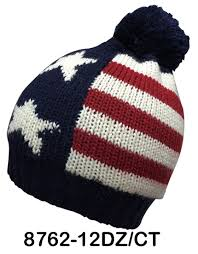 Usa Flag Hats Wholesale Us Flag Pattern Cuffed Knit Ski Hat Pom Beanie From Nyc