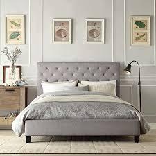 Platform Beds Queen - amazon com contemporary grey linen button tufted headboard queen