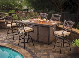 3 Piece Bar Height Patio Set Wood Bar Height Patio Table And Chairs Pleasant Bar Height Patio