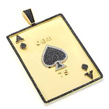 men necklace pendants images Custom mens pendands ace of spades diamond pendant 10k solid gold jpg