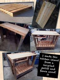 pallet kitchen island with little shelf for cutting boards and