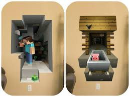 minecraft vinyl wall graphics mining 2 pack amazon co uk kitchen
