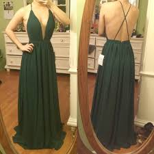 a line deep v neck backless dark green chiffon prom dress with