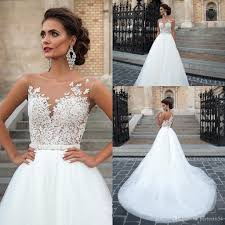 lace top wedding dress 2017 vintage lace wedding dresses sheer neck lace top tulle floor
