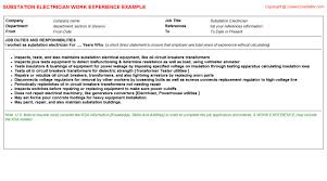 resume electrician sample substation electrician cv work experience samples