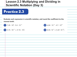multiplying and dividing scientific notation worksheet lesson 2 3 multiplying and dividing in scientific notation day 3