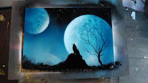 how to spray paint art blue wolf youtube