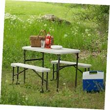 Folding Table And Bench Set Lifetime 80373 Portable Folding Picnic Table And Bench Set Almond