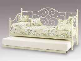 florence ivory white metal day bed with guest bed frame
