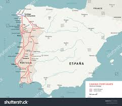 Camino Frances Map by Camino Portugues Map Camino De Santiago Stock Vector 471350321