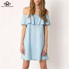 off shoulder denim casual dress u2013 hippie bliss