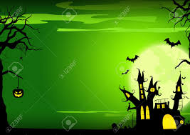 halloween poster haunted castle pumpkin and bats background