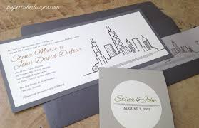 chicago wedding invitations custom wedding invitation city skyline papercake designs
