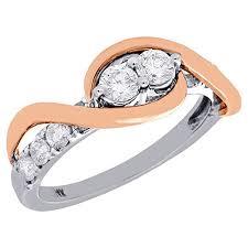 swirl engagement rings 14k white multi tone diamond two swirl engagement