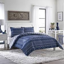 Poppy Bedding Poppy And Fritz Pippa Indigo Tribal Print 3 Piece Cotton Comforter