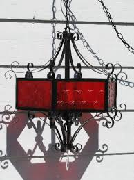 Chandelier Swag Lamp Retro 50s Gothic Vampire Swag Lamp Chandelier Blood Red U0026 Black Iron