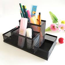 sturdy mesh reading desk organizer metal storage box metal pen
