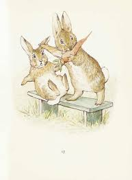 beatrix potter rabbit idea for a shadow box with a garden and a house and