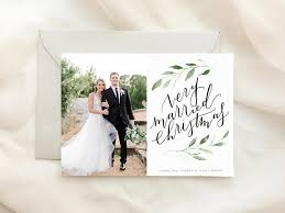 married christmas cards items similar to greenery married christmas card printed