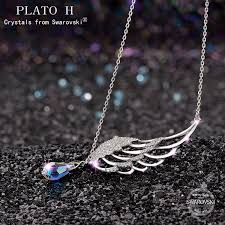 crystal drop pendant necklace images Guardian angel wing drop pendant necklace necklace plato h jpg