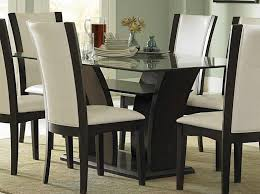 Glass Top Dining Tables With Wood Base Glass Chrome Polishes - Glass top dining table decoration
