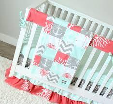 Girl Nursery Bedding Set by Ocean Baby Girl Crib Bedding Coral Mint Gray Baby Bedding