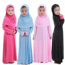 child abaya girls cotton dress hijab arab muslim islamic kids maxi