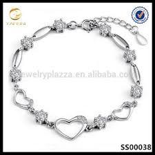 bracelet women silver images Latest design sterling silver bracelet women cz crystal heart jpg