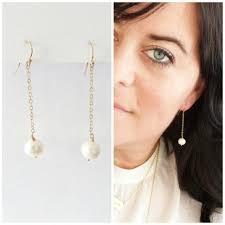 pearl dangle earrings pearl drop earrings bridesmaid gift freshwater pearl bridesmaid