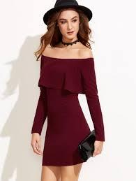 burgundy off the shoulder long sleeve bodycon dress u2013 lyfie